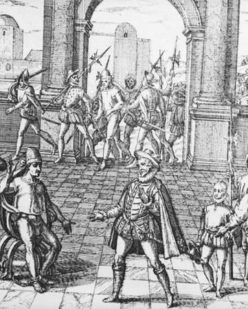 Atahuallpa in manacles awaiting his death by strangulation.  Bettmann/Corbis.