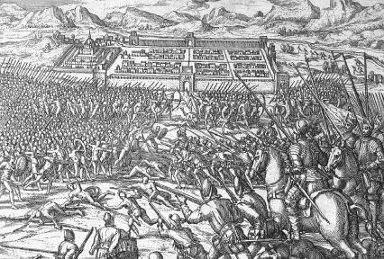 Engraving showing the Spanish and Andean battle for Cuzco. The Art Archive/Biblioteca Nazionale Marciana Venice/Dagli Orti.
