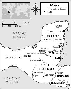 Map showing the major sites of Maya civilization in Mesoamerica. Map by XNR Productions. The Gale Group.