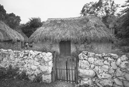 Mayas still live in houses like this one, similar to those of their ancestors.  David G. Houser/Corbis.
