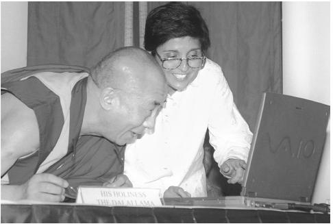 The Internet has created a new forum for expression and discussion of social issues. In April 2000, for example, the Dalai Lama, in New Delhi, India, was given a demonstration of a website that is intended to provide basic knowledge of a citizen's rights during a police complaint. (Reuters New Media Inc./Corbis)
