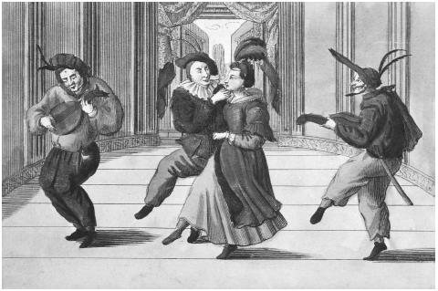Commedia dell'Arte. An eighteenth-century engraving of commedia dell'arte actors on stage. The central pair are the Lovers, flanked by comic characters, or zanni. ©BETTMANN/CORBIS