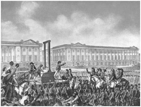Age of Revolutions. A contemporary engraving depicts the execution of Louis XVI of France, 1793. ©BETTMANN/CORBIS