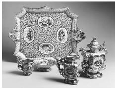 """Like tea, coffee evolved its own distinctive implements in the form of differently shaped cups, serving pots, and table accoutrements. This """"Dragon Coffee Service"""" manufactured by the Komilov Brothers factory in St. Petersburg, Russia, between 1840 and 1860, transforms the traditional Russian tea service into a porcelain fantasy. © THE STATE RUSSIAN MUSEUM/CORBIS."""
