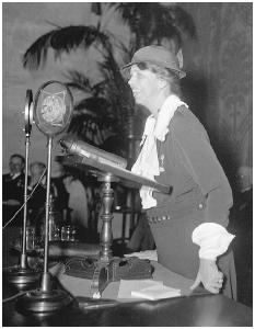 First Lady Eleanor Roosevelt addresses a meeting of the American Red Cross on April 11, 1934, in Washington, D.C. She had joined the American Red Cross as a private citizen in 1912. [AP/WORLD WIDE PHOTOS]