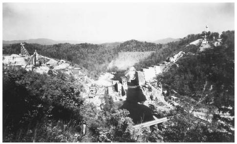 The Hiawassee Dam in North Carolina, under construction by the TVA in the late 1930s. FRANKLIN DELANO ROOSEVELT LIBRARY