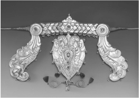 Silver Headband from South India. From South India, silver headband (thalaikkachchu) to adorn a sacred bull (Nandi). Madras (Chennai), Tamil Nadu, nineteenth century. Its sections are ornamented with repoussage and chasing, and set with glass s