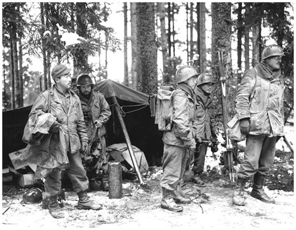 Members of the 442nd Regimental Combat Team, mostly Japanese Americans, rescued the Lost Battalion in the Vosges mountains. The 442nd was among the most decimated, most decorated units of World War II. (Center for Military History)
