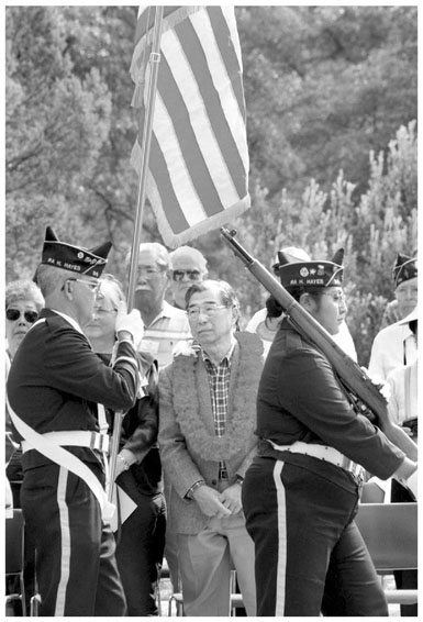 Gordon Hirabayashi (19182012) challenged the constitutionality of the militarys treatment of Japanese Americans. Here, on November 7, 1999, he helps dedicate the camp, renamed in his honor, in which he was imprisoned just outside Tucson, Arizona.