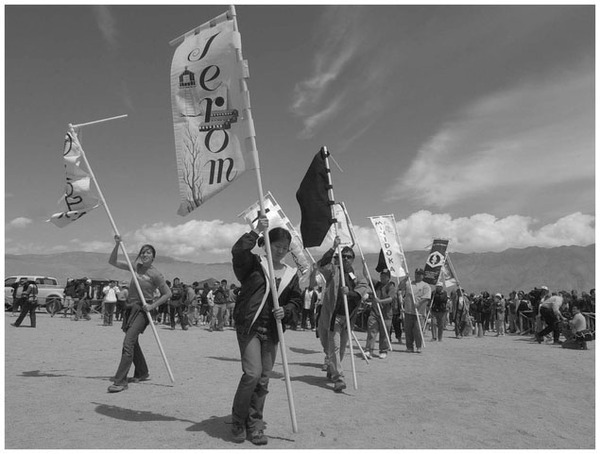 Many Japanese Americans believe the nation must never forget the injustices of World War II. Here, they memorialize that history at the Manzanar National Historic Landmark, California on April 27, 2002. (Associated Press)