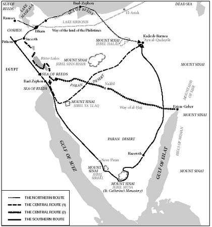 Map 1. Map illustrating major theories on the Israelites route from Egypt to Kadesh-Barnea; in addition to the routes the major sites are given according to various theories.