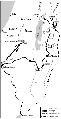 Map 2. Map illustrating earlier and later traditions regarding the route of the Israelites from Kadesh-Barnea to the Moabite Plateau.