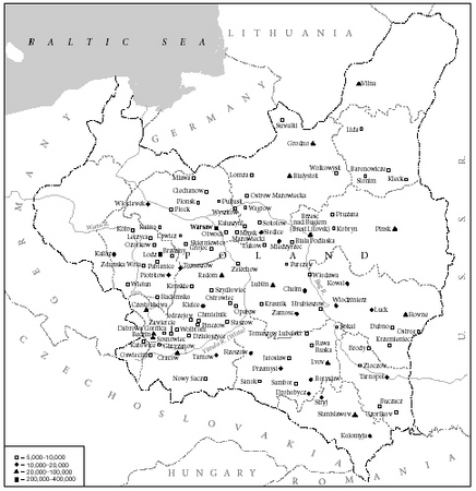 Map 2. Major Jewish communities in Poland in 1931.