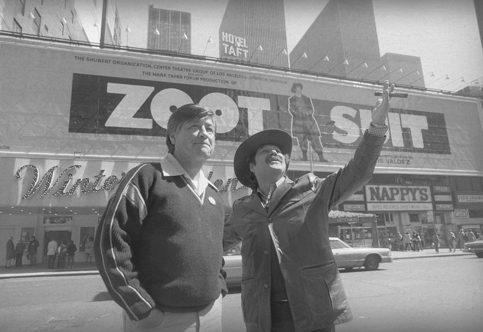 Luis Valdez and Csar Chvez outside the theater where Valdezs play Zoot Suit was playing, 1979.