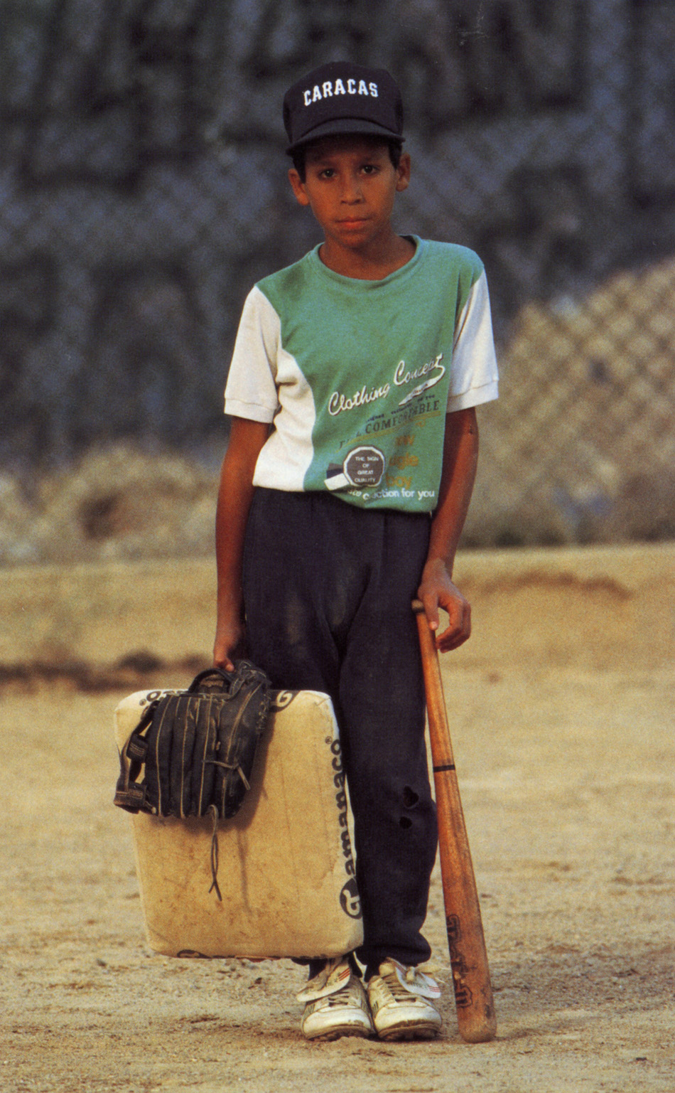 Young Venezuelan baseball player. Introduced by U.S. oil workers in the 1920s, baseball is now Venezuelas most popular sport.