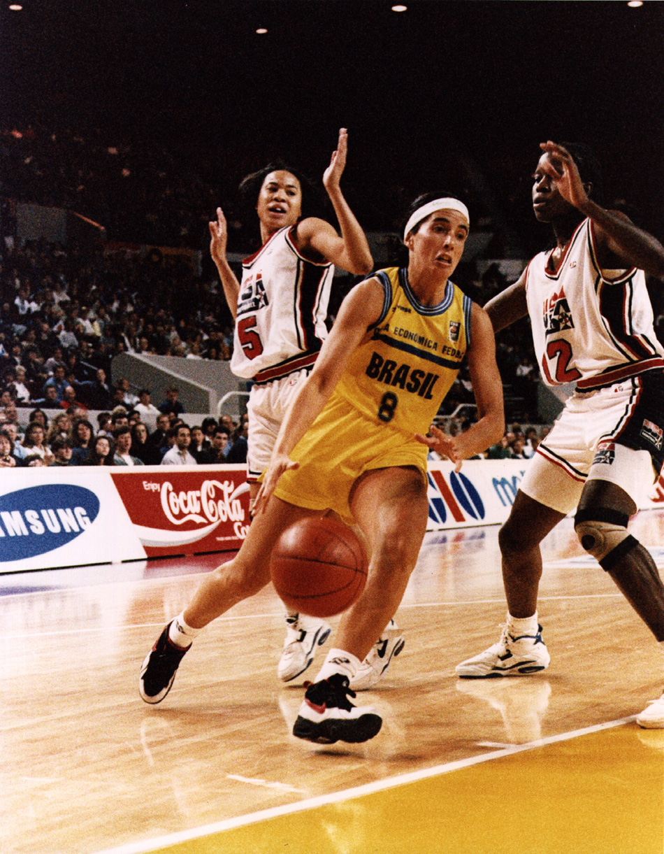 Basketball match at the FIBA World Champtionship games between the Brazilian and United States womens teams, Sydney, Australia, 1994. Though soccer and baseball dominate, the sport of basketball in Latin America has won new fans and players.