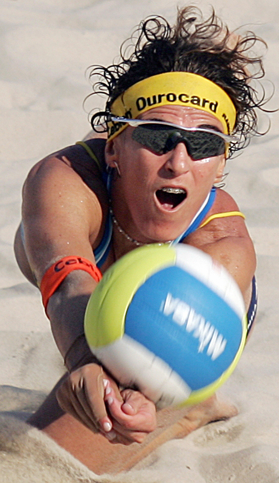 Shelda Bede, Brazilian beach volleyball player diving to return ball in a 2004 semifinal match, Rio de Janeiro. Volleyball, a more recent sport in Latin America, continues to grow in popularity and strength.