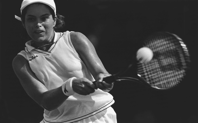 Venezuelan tennis player Maria Vento-Kabchi at the Central American and Caribbean Games, Maracaibo, Venezuela, 1998.