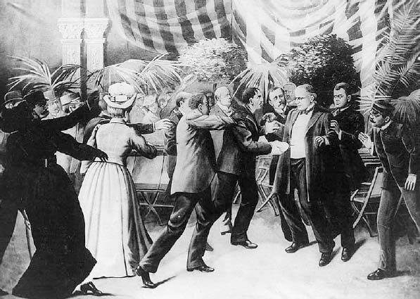 Anarchist Leon Czolgosz shoots U.S. president William McKinley with a concealed revolver at the Pan-American Exposition reception on September 6, 1901. McKinley died a week later and Czolgosz was executed for his crime.