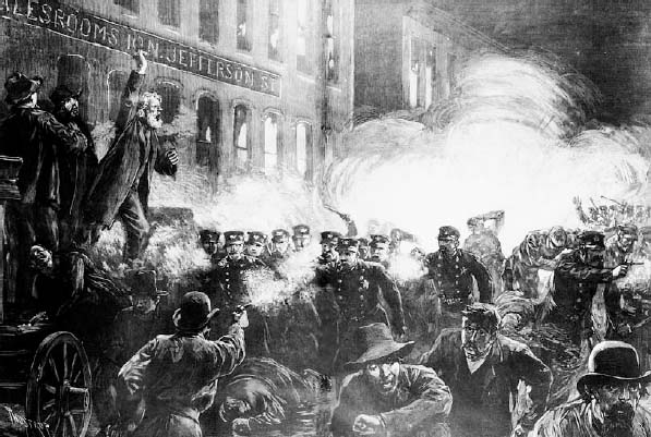 The police charge rioters in old Haymarket Square in Chicago, Illinois, on May 4, 1886. The riot occurred when a bomb exploded among a group of policemen as they attempted to disperse a giant labor rally in the city's Haymarket