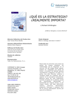 Qué es la estrategia? Realmente importa?, ed. 2