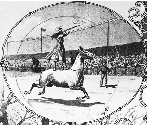"Annie Oakley. Annie Oakley, whose real name was Phoebe Ann Moses, joined Buffalo Bill's Wild West Show in 1884 as a trick shooter known as ""Little Sure Shot."" In this early illustration from the show, Oakley shoots a rifle while standing on a bareback horse. © Corbis"