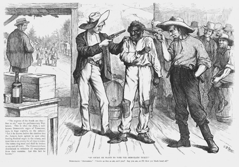 Political cartoon illustrating the intimidation tactics used by southern Democrats after the Civil War, 1876.