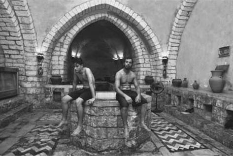 Turkish Bath in Gaza City. Two men relax in the Hamam Samra Turkish bath, in Gaza City.