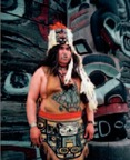 Tlingit dancer dressed in traditional style