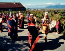 Tsimshian drummers at a ceremony