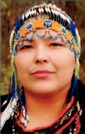 Alutiiq woman in a beaded headdress