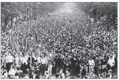 The student uprising of May 1968, which challenged all the old assumptions of the French ruling elite