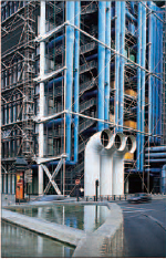 Pipes and ducts on the outside of the Centre Pompidou