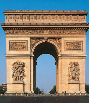 The east faade of the Arc de Triomphe