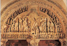 Tympanum sculpture showing Christ and the apostles at Basilique Ste-Madeleine, Vzelay