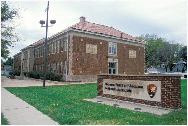 The Brown v. Board of Education National Historic Site is located in Topeka, Kansas, at the site of the former Monroe Elementary School. The school achieved National Historic Landmark status in 1987for its historical importance to the Brown v. Board
