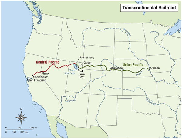 The Transcontinental Railroad stretched 1,900 miles from Omaha, Nebraska, to Sacramento, California. Its construction was completed in 1869 by linking the Union Pacific and Central Pacific Railroads at Promontory, Utah.