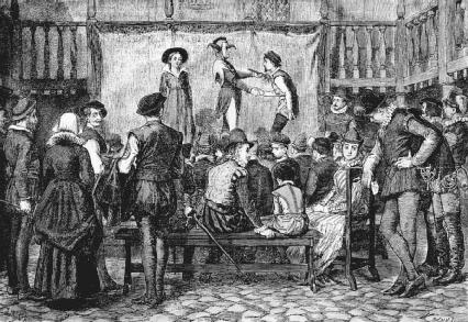 A traveling acting company performs a play in the yard of a London inn.