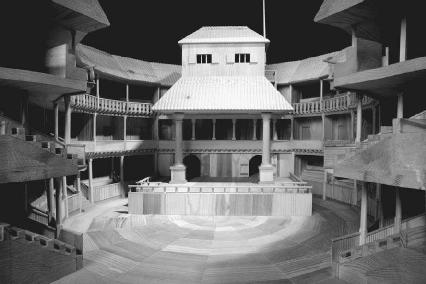 A model of the Globe Theater.