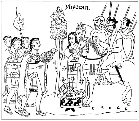 Aztec emissaries delivering offerings to Spanish conquistador Hernn Corts. The Aztecs are wearing traditional cloaks and loincloths.