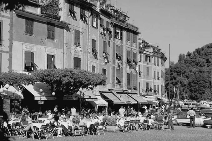 Caf scene, Portofino, Italy