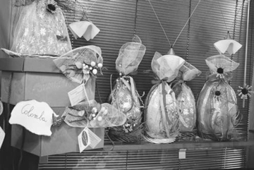 A selection of Italian chocolate Easter eggs in a shop in Rome