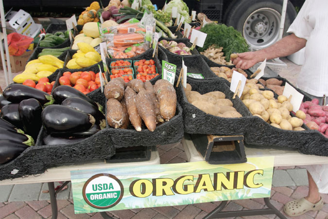 A vendor at a farmers market in Boca Raton, Florida, displays vegetables bearing the USDA Organic label.