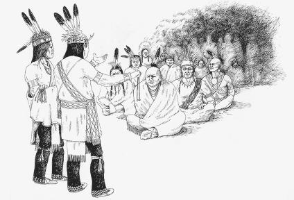 Two members of the Iroquois tribe address other Indian tribes. Illustration by John Kahionhes Fadden. Reproduced by permission of John Kahionhes Fadden.