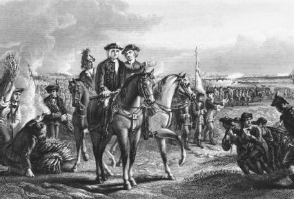 General William Pepperell rides triumphantly among his troops after the surrender of Louisbourg in 1745. Reproduced by permission of Getty Images.