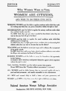 Broadside published by the National American Woman Suffrage Associaton in 1910.