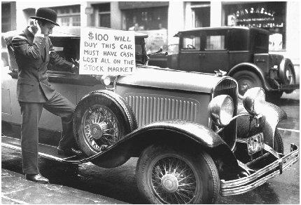 A once-prosperous businessman is forced to sell his car after losing his money to the stock market. UPI-Corbis Bettmann. Reproduced by permission.