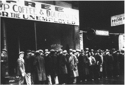 Unemployed men lined outside a soup kitchen in Chicago, Illinois.