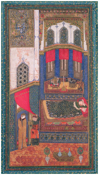 """Tahmina Comes into Rustam's Chamber,"" illustration from the Book of Kings, by Abu'l-Qasim Manur Firdawsi (c. 934–c. 1020), from Herat, Afghanistan,"