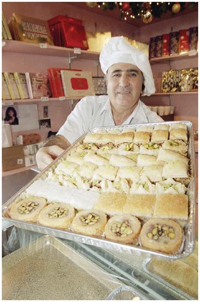 An Armenian baker displays his wares.